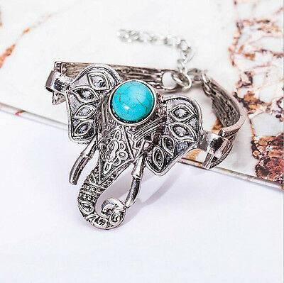 Ancient Tibet Silver Ornate Carved Elephant Turquoise Stone Bangle Bracelet Gift