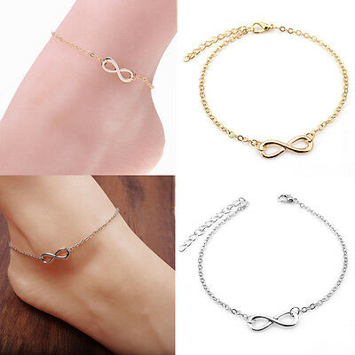 Women Girl Gold Silver Ankle Bracelet Anklet Adjustable Chain Foot Beach Jewelry