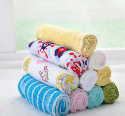 8 pcs Soft Baby Newborn Kids Cotton Square Towels Washcloth Baby Bath Feeding