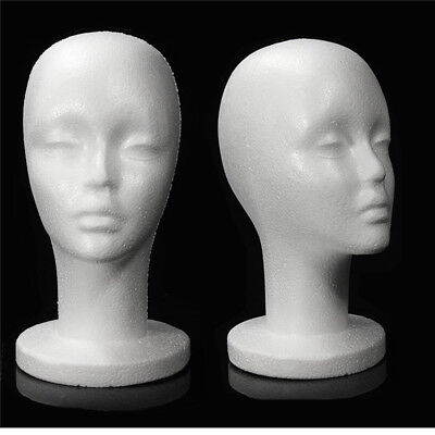 Female White Styrofoam Foam Mannequin Head Dummy Wigs Model Display Holder Stand