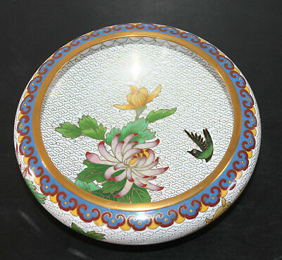 """A 6.2"""" C20th Chinese Birds & Chrysanthemum Blossoms Cloisonne Shallow Bowl"""