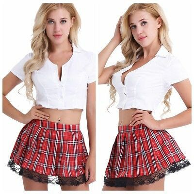 sexy Women's Lingerie School Girl Uniform Fancy Dress Outfit Costume Cosplay