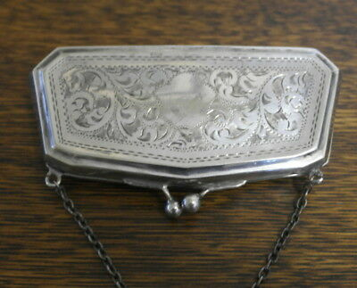 antique silver plate COIN PURSE  ornate etched