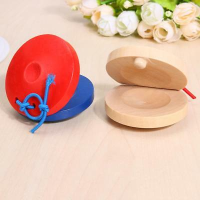 2 X Wooden Castanets Wood Percussion Flamenco Musical Instrument Educational Toy