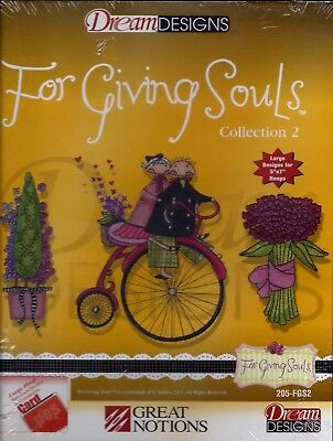GREAT NOTIONS MACHINE EMBROIDERY CARD .pes FORMAT - FOR GIVING SOULS - BRAND NEW