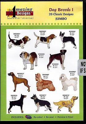 Amazing Designs Multi-Format Machine Embroidery Cd - Dog Breeds I - Brand New