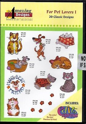 Amazing Designs Multi-Format Machine Embroidery Cd - For Pet Lovers I -  New