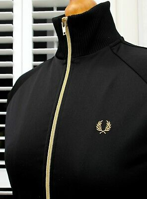 Fred Perry Women's Black/Gold Polyester Track Jacket - UK 10/ EUR 38/ USA 6