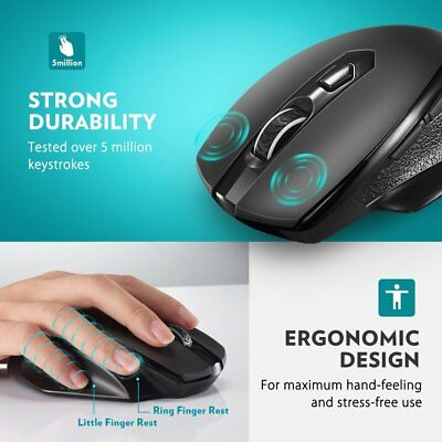 VicTsing Mini Mice Wireless Mouse Optical Cordless USB for Laptop Notebook AU