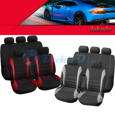 9Pcs/set Car Seat Covers Universal Full Set Front&Rear Seat Back Head Protector