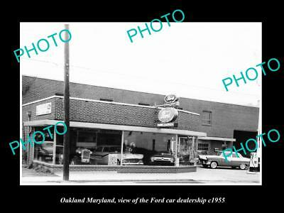 OLD LARGE HISTORIC PHOTO OF OAKLAND MARYLAND, THE FORD CAR DEALERSHIP c1955