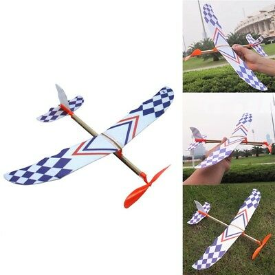 Foam Elastic Powered Glider Rubber Band Plane Kit Flying Model Aircraft Kids Toy