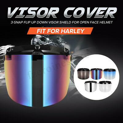 Universal 3-Snap Bubble Shield Visor For Open Face Motorcycle Motorbike Helmets