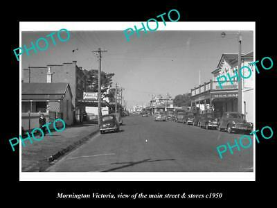 OLD LARGE HISTORIC PHOTO OF MORNINGTON VICTORIA, THE MAIN St & STORES c1950