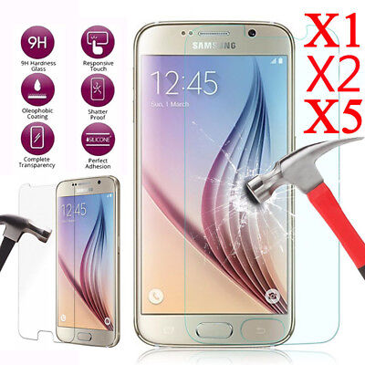 5x Tempered Glass Screen Protector For Samsung S6 S7 A3 A5 J3 J5 J7 2016 / 2017