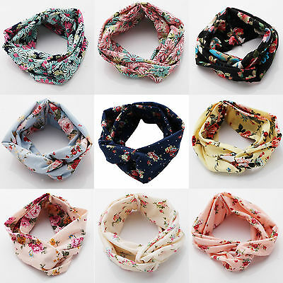 Vintage Women Girl Yoga Elastic Floral Hair Band Headband Turban Twisted Knotted