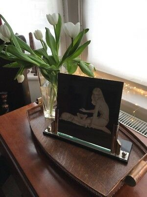 Stunning Large Art Deco Chrome and Glass Photograph Frame on Black Glass Base