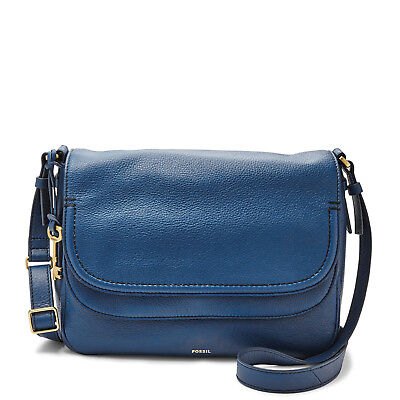 ZB6840433 New Original Fossil Peyton Genuine Blue Leather Double Flap Bag £149