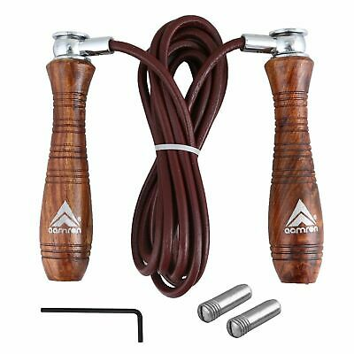 Aamron® Pro Weighted Leather Skipping Speed Rope Fitness Boxing Jumping Gym.