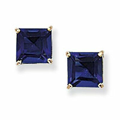 9ct Yellow Gold Blue Sapphire Square Stud Earrings