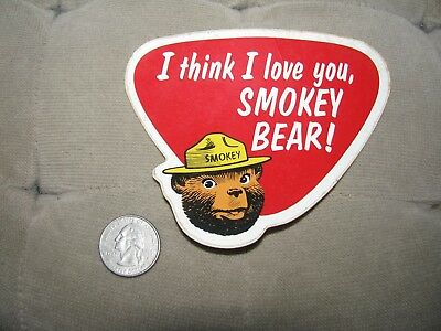 VTG 1960's  I Think I Love you Smokey Bear Decals old stock New Shows Wear