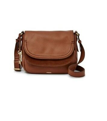 ZB7100200 New Original Fossil Peyton Genuine Brown Leather Double Flap Bag £149