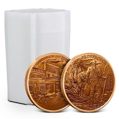 Tube/Lot of 20 - Provident Prospector 1 oz (AVDP) .999 Copper Rounds – New