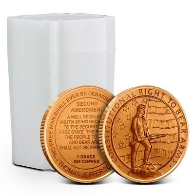 Tube/Lot of 20 - 1 oz (AVDP) .999 Copper Rounds Second 2nd Amendment Design New