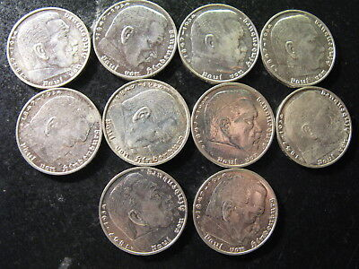GERMANY, 3rd REICH, TEN DIFFERENT SILVER 2 MARK HIGH GRADE COINS