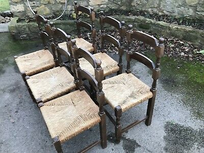 6x Antique Ladder Back Dining Chairs with Rush Seats