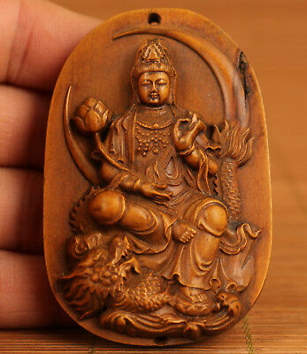 Chinese Old Boxwood Collection Hand Carved Kwan-yin Buddha Statue Pendant