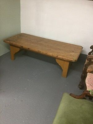 Large Antique Pine Plank Top Coffee Table