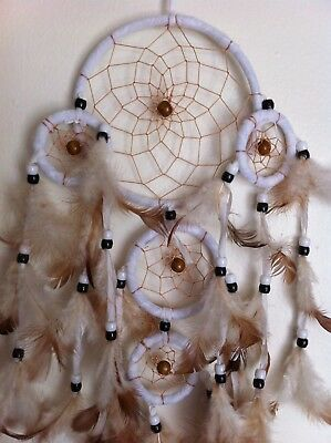 "Cherokee 23"" Dream Catcher, 5 White Rings & Tan Feathers, Wood Beads"