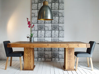 Rustic Solid Wood Butchers Cube Dining Table (6ft x 3ft)