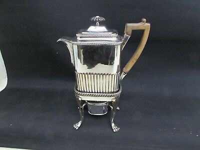Rare Victorian Silver Plated Coffee Pot With Stand & Burner Fruitwood Handle