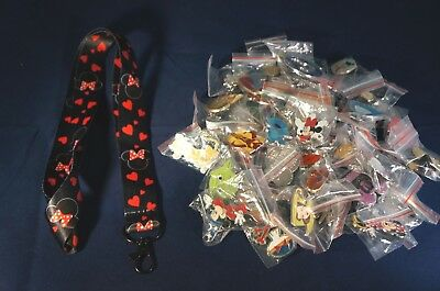 Disney World 25 Pin Trading Lot Lanyard Starter Black  Minnie Mouse Heads Hearts