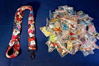 Disney World Trading Pins Pin Lot 25 with Minnie Mouse Black Lanyard Starter Set