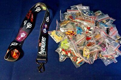 Disney World 25 Pin Trading Lot Lanyard Starter Set Marvel The Avengers Black