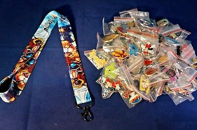 Disney World 25 Pin Trading Lot Lanyard Starter Set Blue Kingdom Hearts Mickey