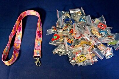 Disney World 25 Pin Trading Lot Lanyard Starter Set Princess Tangled Rapunzel