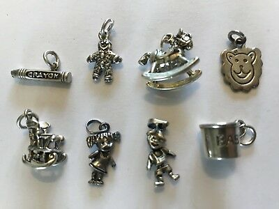 New Sterling Silver Charms Baby Children Elementary Teacher Rocking Horse Chair