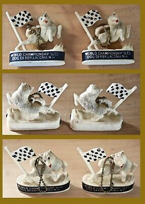 2 Laconia World Championship Sled Dog Derby Souvenir Key Chains From 1962