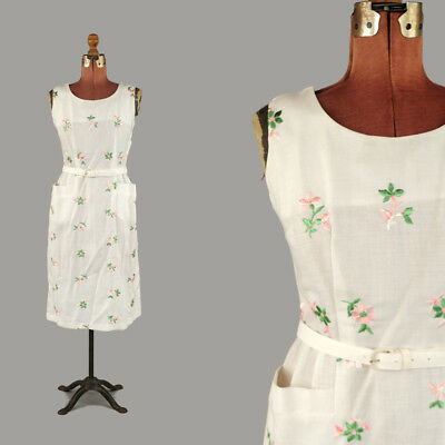 Vintage 50s White Rayon Linen Pink + Green Embroidered Floral Summer Dress NOS M