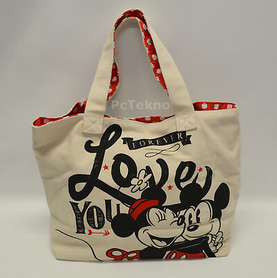 """Disney Store Mickey & Minnie Mouse """"Love You Forever"""" Canvas Tote Bag NWT"""