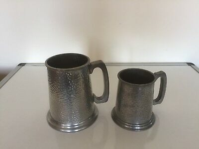 Two Lovely Pewter Tankards ( 1Pint & 1/2 Pint) Kirra Pewter And Manor Pewter