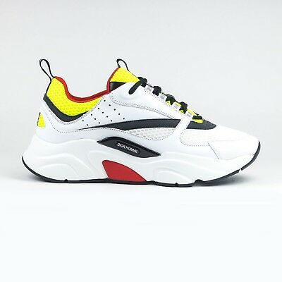 100% Authentic NEW Mens Dior Homme B22 White Red Yellow Calfskin Sneaker c42285c3cb4