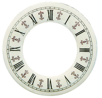 "NEW 4"" Enameled Porcelain Clock Time Ring Dial - Roman Numbers with Fleur-De-Lis"