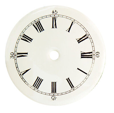"NEW 3-1/4"" Enameled Porcelain Clock Dial - White Dial with Roman Numbers"