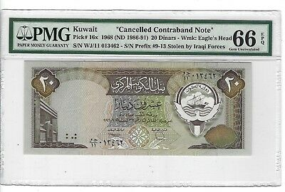 P-16x 1968 (1980-91)  20 Dinars, Kuwait Central Bank, Cancelled PMG 66EPQ Nice!