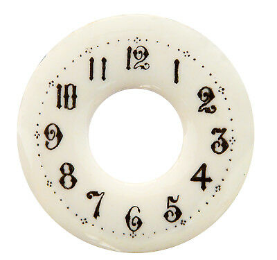 "NEW 2-1/8"" Enameled Porcelain Clock Dial - Off-White Dial with Arabic Numbers"